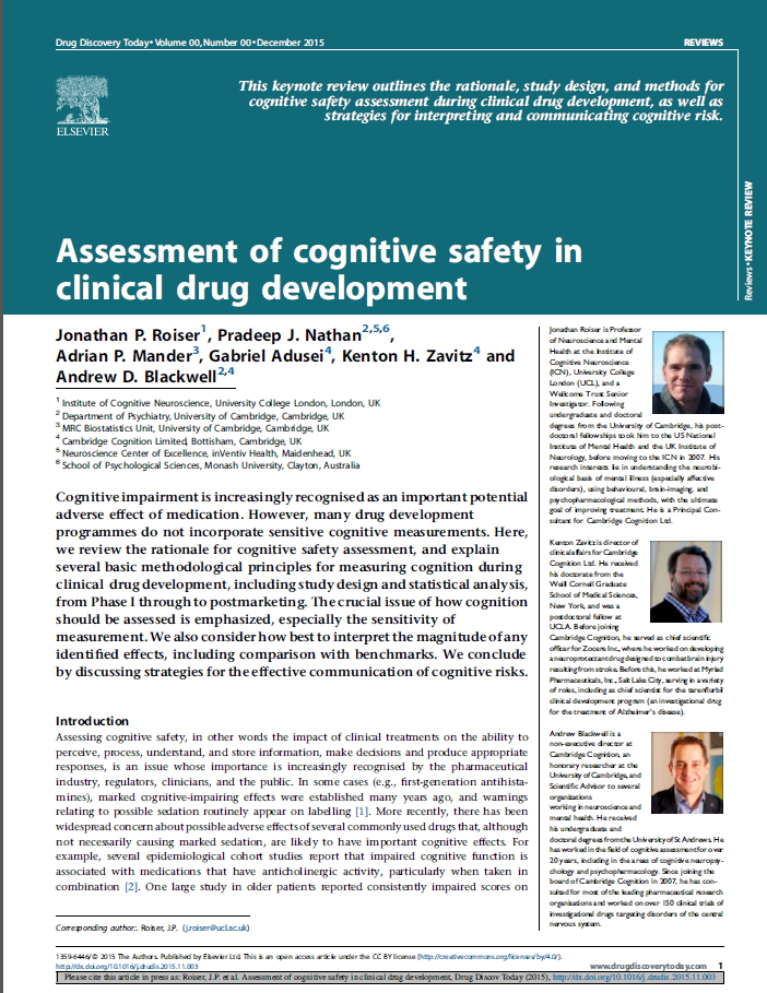 Assessment of cognitive safety in clinical drug development