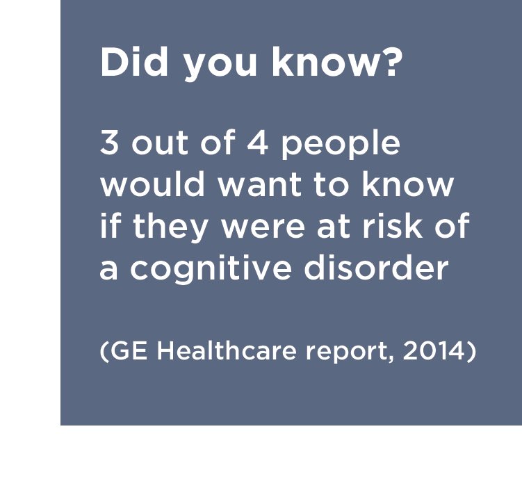 3 in 4 would want to know if they were at risk of cognitive disorder