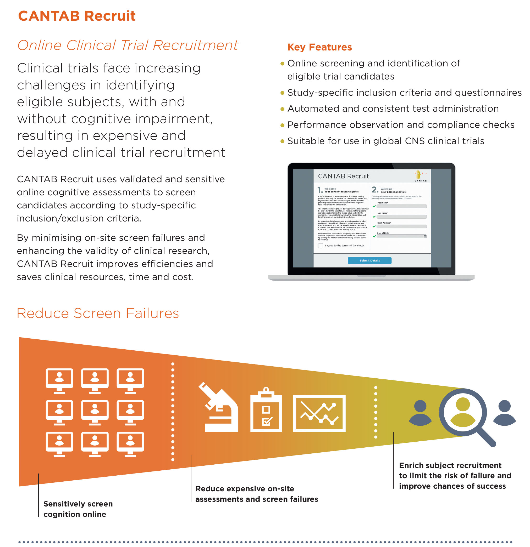 CANTAB Recruit brochure