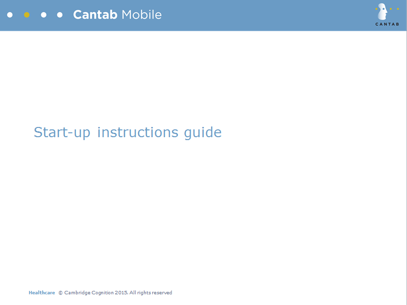 CANTAB Mobile Start-up instructions guide